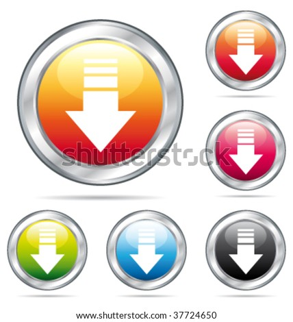 Down arrow colorful buttons. Vector collection. - stock vector