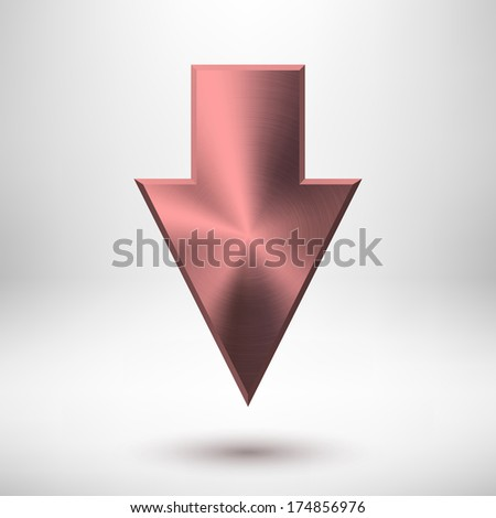 Down arrow sign with pink metal texture (silver, chrome, steel, iron), realistic shadow and light background for internet sites, web user interfaces (UI) and applications (apps). Vector.