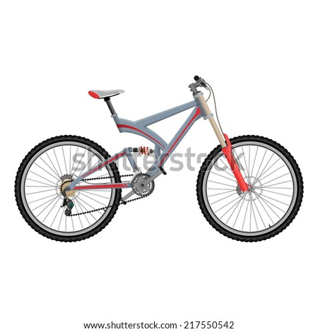 Downhill extreme sport bicycle on white background