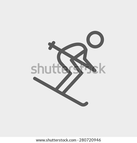 Downhill skiing icon thin line for web and mobile, modern minimalistic flat design. Vector dark grey icon on light grey background. - stock vector