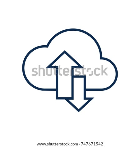 Download Upload Arrow Symbol On Cloud Stockvector 747671542