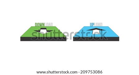 Download and upload button icon image set isolated on white - stock vector