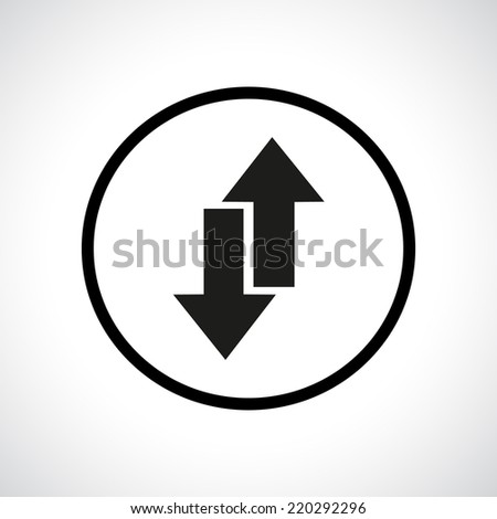 Download and upload symbol in a circle. Send and receive emails. Black flat icon. - stock vector