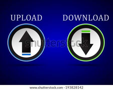 Download and upload vector web button, icons - stock vector