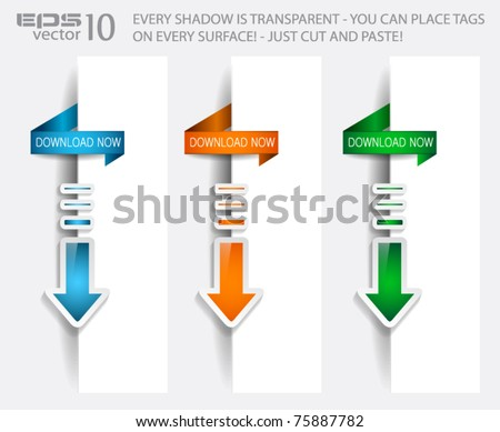 Download Banner with TRANSPARENT shadows ready to be placed on a border page. - stock vector