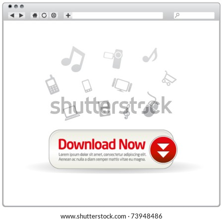 Download button in a modern browser window with icons - stock vector