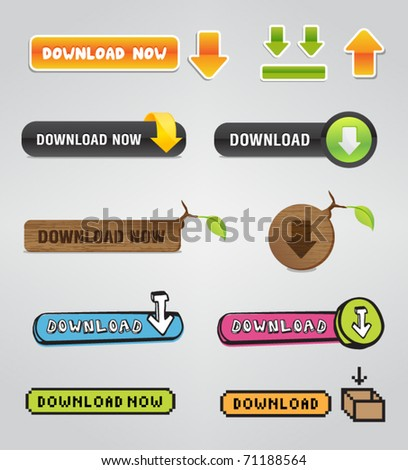 Download buttons - stock vector