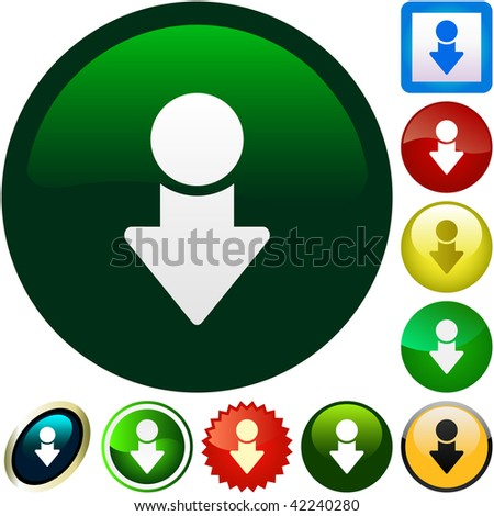 Download buttons. Vector set. - stock vector