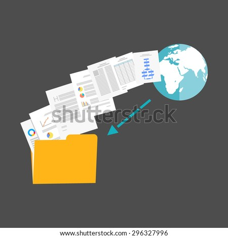 Download files from internet illustration. - stock vector