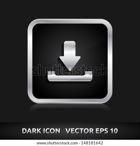 Download icon | color dark black silver metal grey white | icon set | abstract vector symbol | template design | shadows shiny | business button | abstract 3d - stock vector