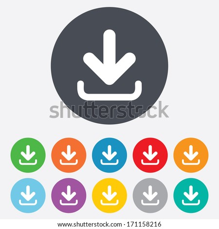 Download icon. Upload button. Load symbol. Round colourful 11 buttons. Vector - stock vector