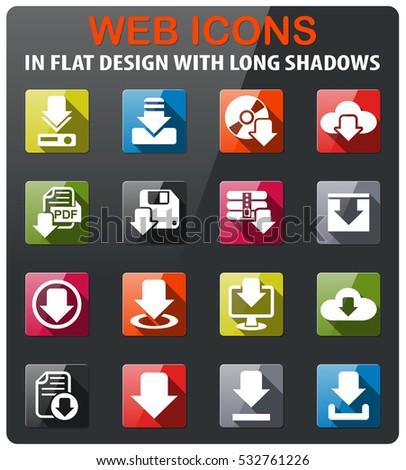 download icons set in flat design with long shadow
