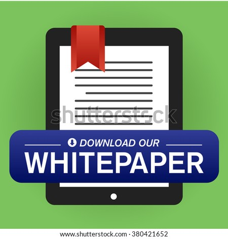 Download Our Whitepaper or Ebook Graphic with Replaceable Call to Action Button. - stock vector