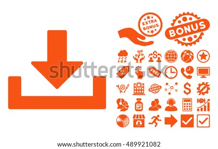 Download pictograph with bonus symbols. Vector illustration style is flat iconic symbols, orange color, white background.