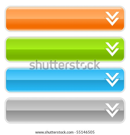Download sign web 2.0 navigation panel. Colored glossy internet buttons with shadow on white background - stock vector