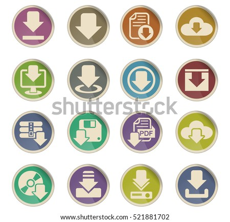 download web icons on color paper labels