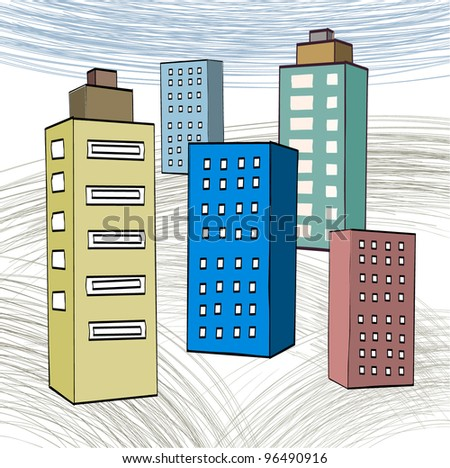Downtown, Urban Landscape - stock vector
