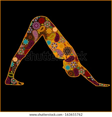 Downward facing dog silhouette with hindu symbols - stock vector