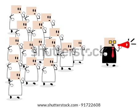 dozens of members follow a leader who ran in front of - stock vector