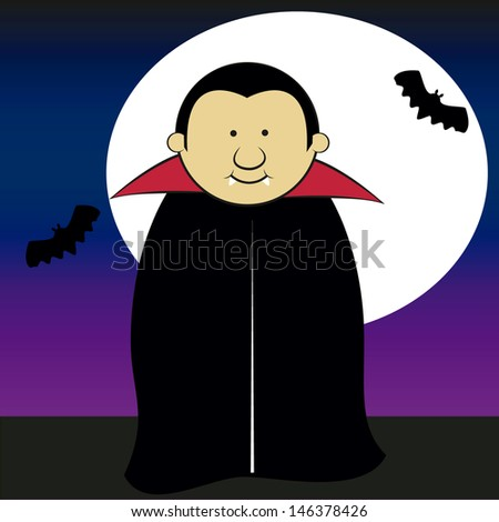 dracula smiling on a moonlit night with bats. - stock vector