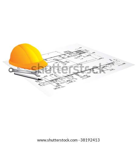 Draft of building and worker tool on a table