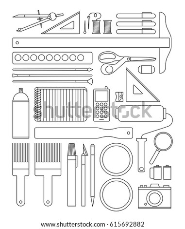 Drafting Art And Craft Supplies Icons