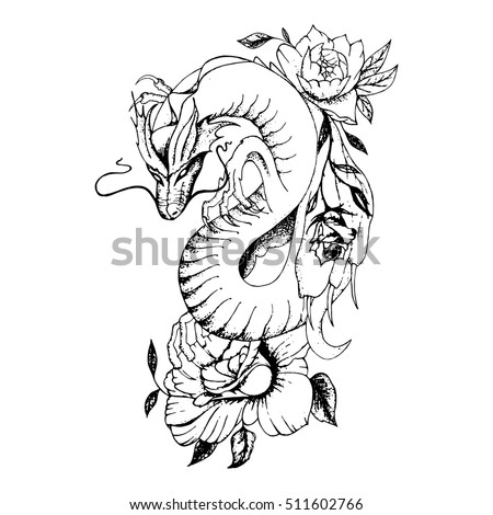 Dragon tattoo stock images royalty free images vectors dragon and flowers tattoo ccuart Images