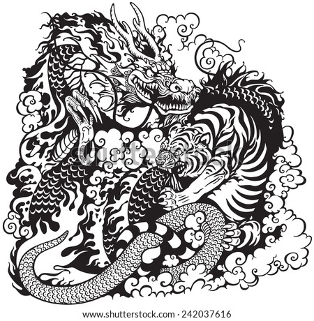 dragon and tiger fight, black and white tattoo illustration - stock vector