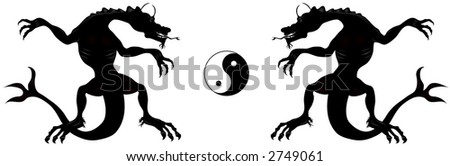Dragon and Ying - Yang symbol. Vector illustration,black over white background.