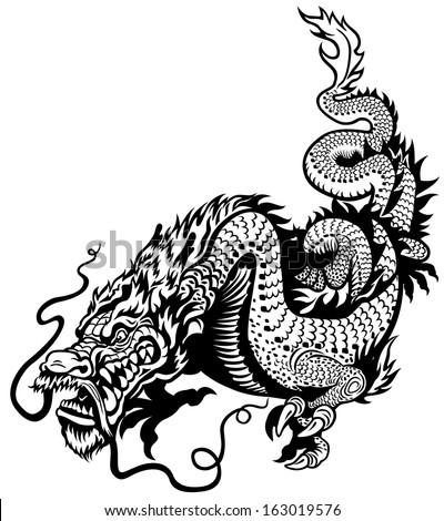 dragon black and white illustration  - stock vector
