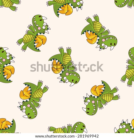 dragon , cartoon seamless pattern background - stock vector