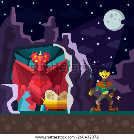 Dragon Cave. Colorful illustration style flat.