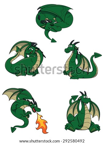 Dragon character set collection - stock vector