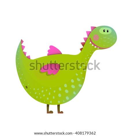Dragon childish fun cute cartoon. Cartoon monster for kids, funny happy dinosaur. Vector illustration. - stock vector