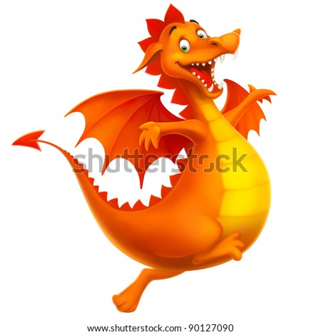 dragon cute smiling happy as cartoon or toy isolated on white vector - stock vector