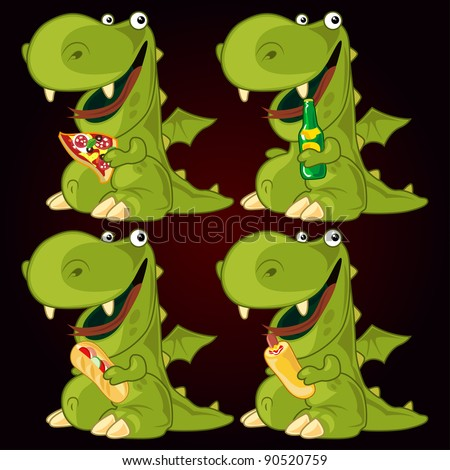 Dragon fast food set - stock vector