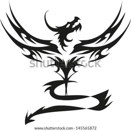 Dragon fly tattoo vector. - stock vector