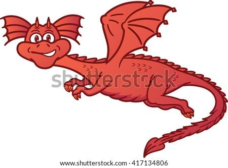Dragon Flying Cartoon Illustration - stock vector