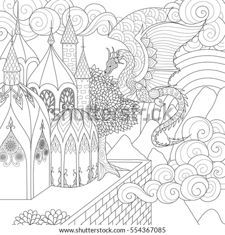 Dragon Flying Over A Beautiful Cathedral For Adult Coloring Book Stock Vector