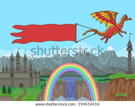 Dragon flying over the mountains and pulls a banner. - stock vector