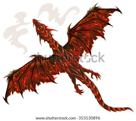 Dragon from lava, terrible creature breathing fire, vector illustration   - stock vector