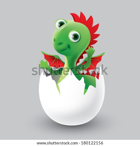 dragon hatched from eggs - stock vector