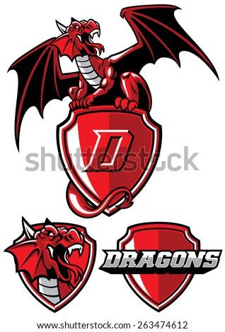 dragon mascot set - stock vector
