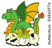 Dragon mom with baby and eggs - vector illustration. - stock vector