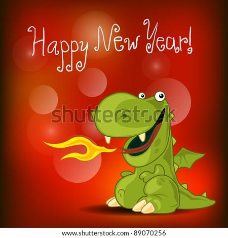 Dragon new year card - stock vector
