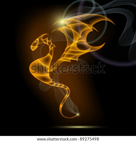 dragon on black - stock vector