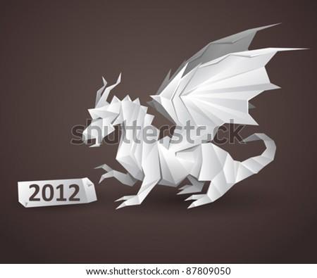dragon origami - stock vector