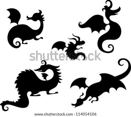 dragon set - stock vector