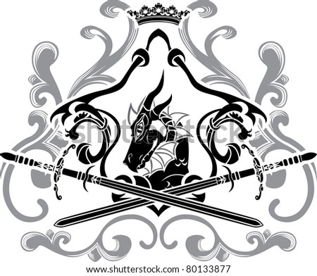 Dragon shield with swords second variant - stock vector