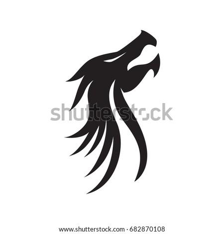 Dragon Silhouette Logo Template Stock Vector 682870108 - Shutterstock